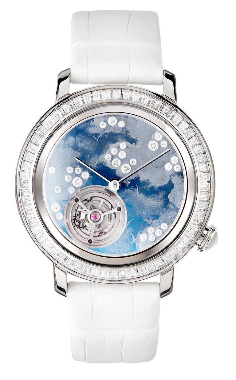 BOUCHERON「Epure」系列「Miroirs Infinis」主題陀飛輪腕錶╱43mm,白金750材質,鑲嵌鑽石及天然水晶╱7,700,000元。(圖╱BOUCHERON提供)