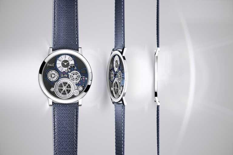 PIAGET「Altiplano Ultimate Concept」終極概念超薄腕錶,鈷基合金錶殼,藍色橡膠錶帶,900P-UC型超薄手動上鏈機芯,41mm╱價格店洽。(圖╱PIAGET提供)