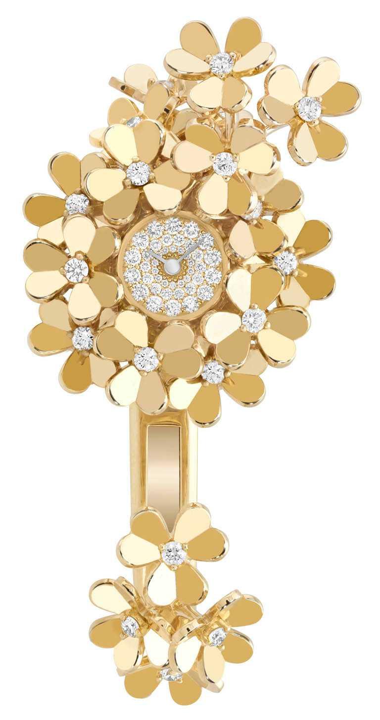 Van Cleef & Arpels「Frivole Secrète」神祕腕錶,黃金錶殼,石英機芯╱1,340,000元。(圖╱Van Cleef & Arpels提供)