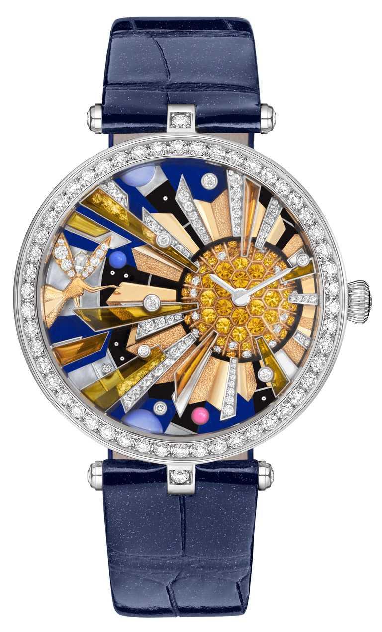 Van Cleef & Arpels「Lady Arpels Soleil Féerique」非凡工藝錶盤系列腕錶,白金錶殼,手動上鏈機芯,41mm,限量3只╱10,800,000元。(圖╱Van Cleef & Arpels提供)