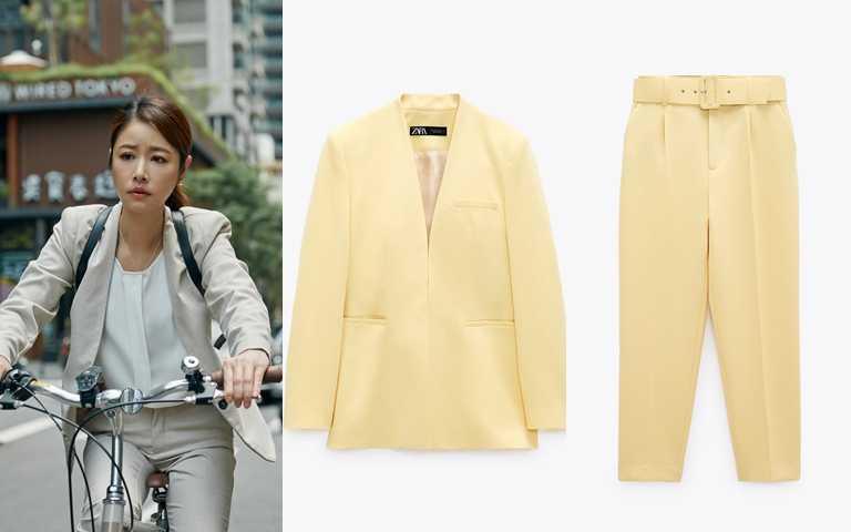 ZARA無翻領西裝外套/1,990元、ZARA配腰帶高腰長褲/1,490元(圖/品牌提供、翻攝網路)