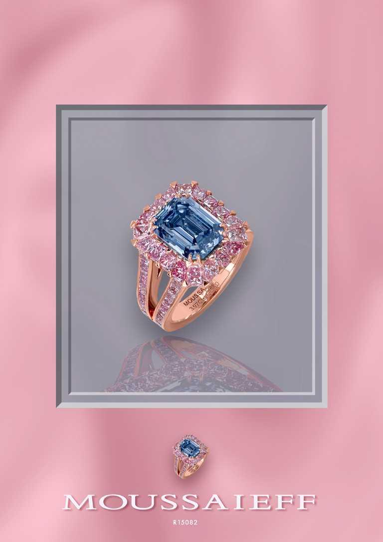 MOUSSAIEFF「藍鑽戒指」,以珍稀3.97克拉祖母綠形切工艷彩藍鑽為主石,搭配共計2.93克拉的粉鑽,總計6.90克拉。(圖╱MOUSSAIEFF提供)