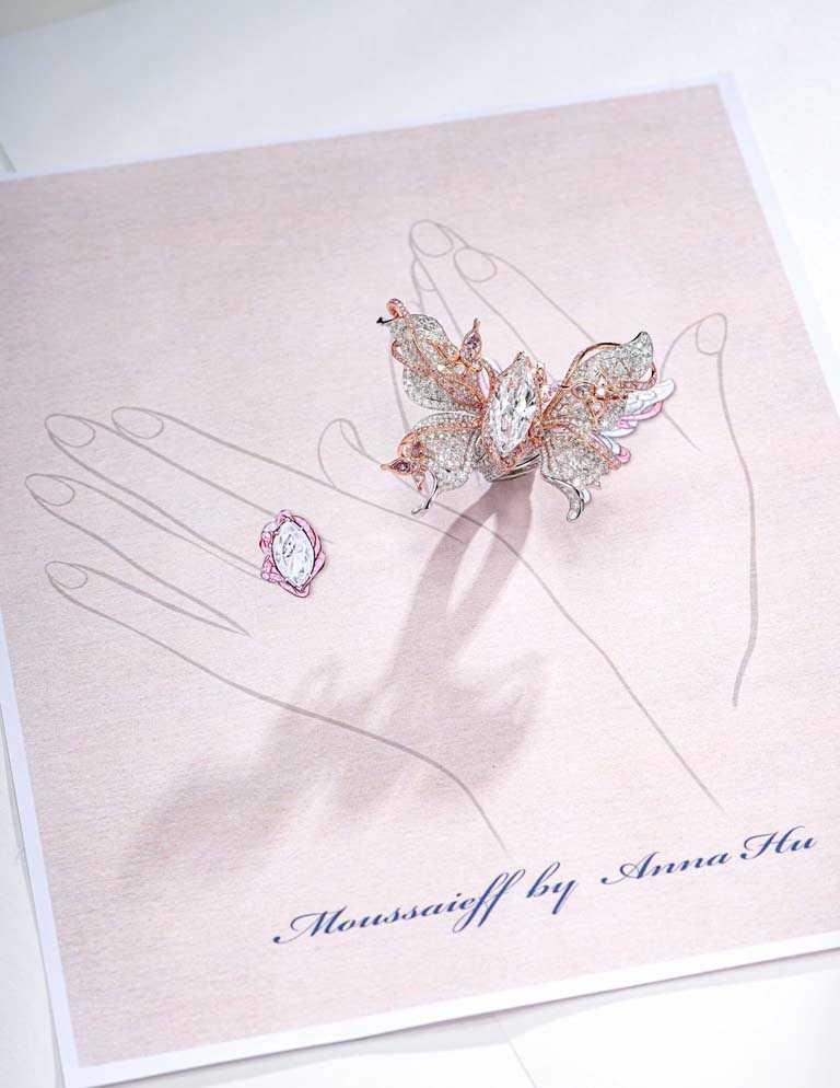Moussaieff by Anna Hu「霜雪蝴蝶戒指」,以1顆8.22克拉DIF Type IIa馬眼形切工鑽石為主石,搭配鑽石、粉鑽鑲嵌而成,共計24.37克拉,可轉換6種佩戴方式。(圖╱ANNA HU提供)