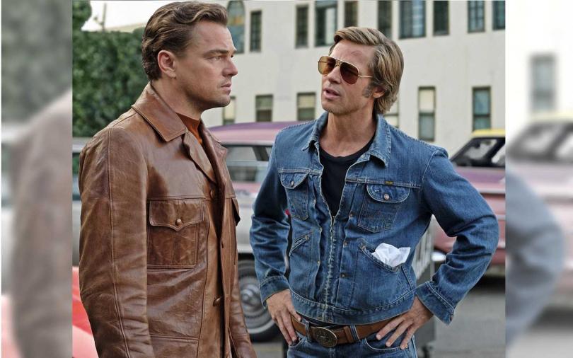 布萊德彼特(右)和李奧納多狄卡皮歐都因《從前,有個好萊塢》入圍了金球獎。(圖/双喜電影提供)