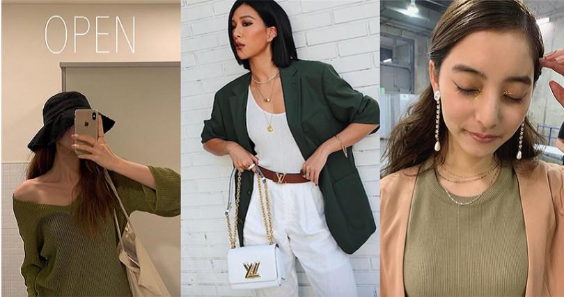 亞洲人的黃肌穿綠色容易氣色差,用明亮的顏色調和一下,你也能簡單駕馭它。(圖/molly_chiang IG,yuuuuukko_ IG,wanyvelyy IG)
