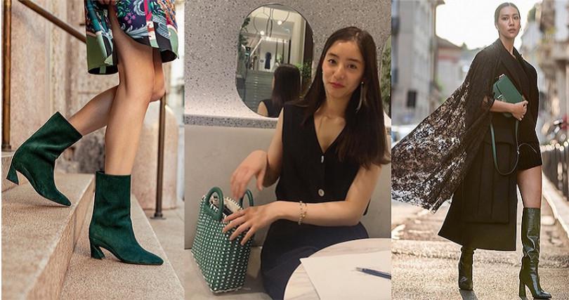 潮人常以全黑造型配上夜幕綠包、鞋,一個高級的顏色就能讓穿搭活起來。(圖/molly_chiang IG,yuuuuukko_ IG,ferregamo IG)