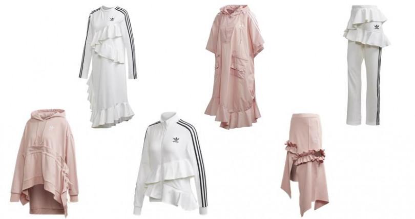 (左上起)白色洋裝NT4,690、粉色披風式上衣 NT5,290、白色Track Pants NT4,090、粉色連帽衣NT4,690、白色Track上衣NT4,690、粉色裙NT4,690。(圖/adidas Originals)