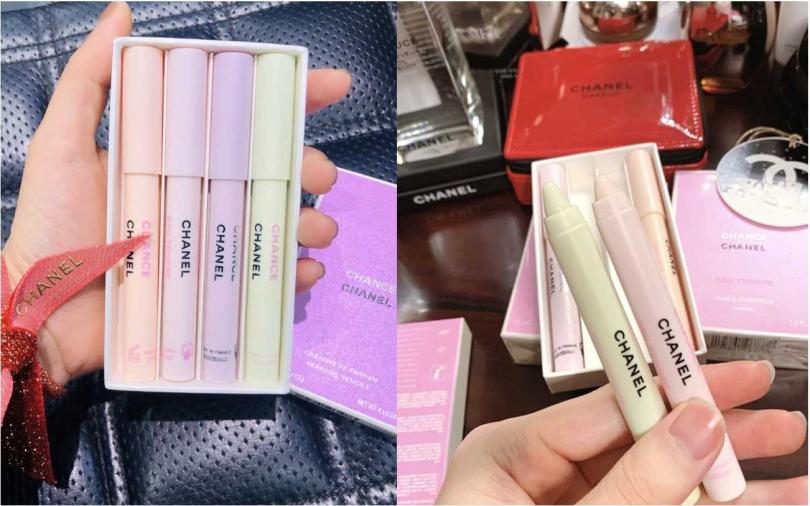 香奈兒CHANCE香氛筆 4*1.2g/2,900元  馬卡龍色系的粉嫩筆身,難怪會被說是香氛蠟筆,實在是太可愛了>///<。(圖/翻攝網路)