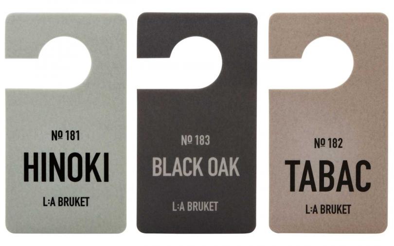 L:a Bruket 香氛片 (3 款氣味:扁柏、黑橡木、菸草 )/單片700元。(圖/品牌提供)