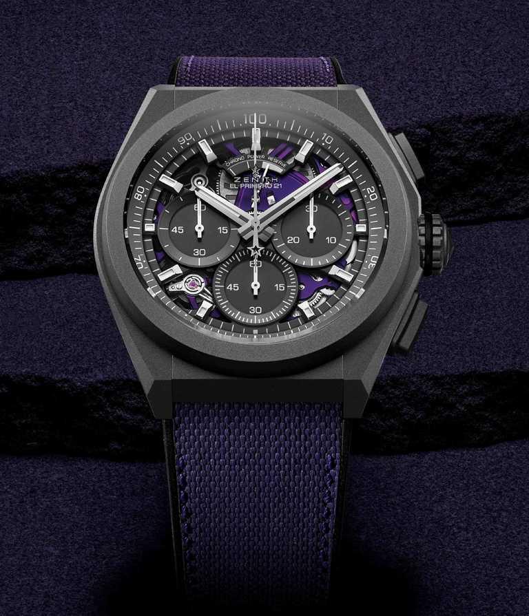 ZENITH「Defy El Primero 21 Ultraviolet」腕錶╱430,600元。(圖╱ZENITH提供)