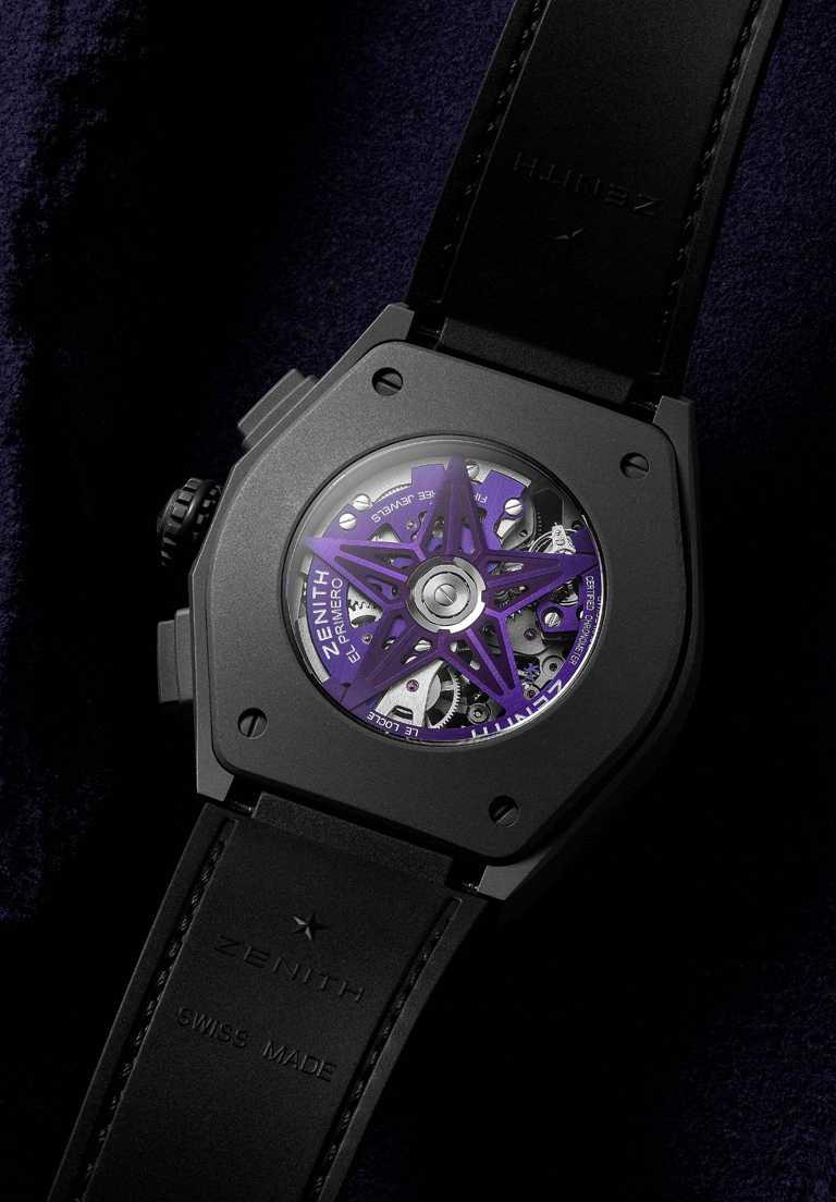 ZENITH「Defy El Primero 21 Ultraviolet」腕錶的鈦金屬光澤,與紫色機芯夾板形成鮮明對比。(圖╱ZENITH提供)