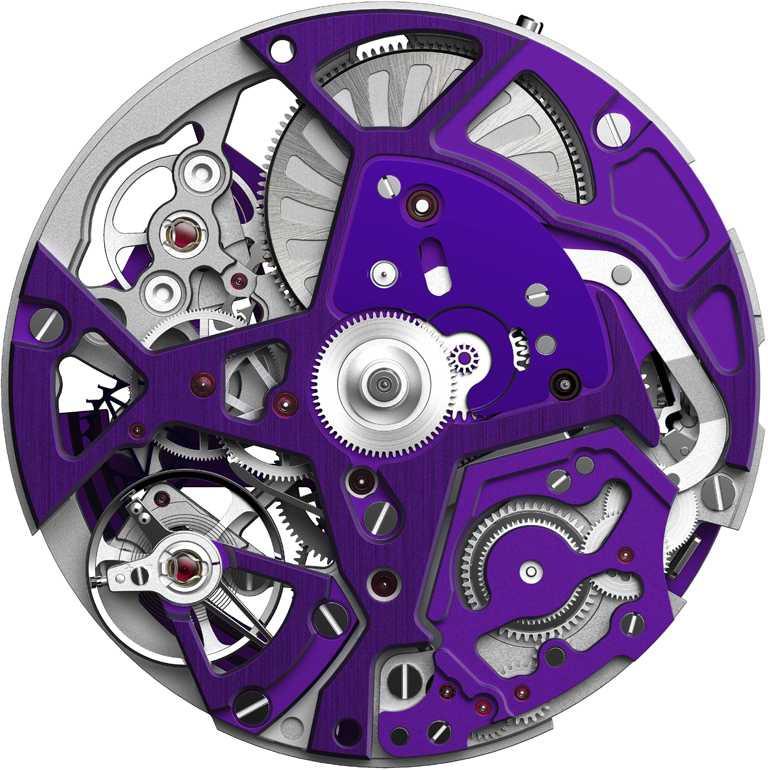 ZENITH「Defy El Primero 21 Ultraviolet」腕錶,紫色機芯夾板。(圖╱ZENITH提供)