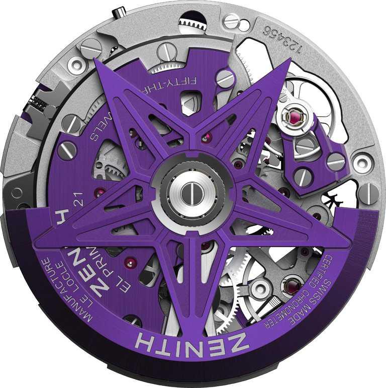 ZENITH「Defy El Primero 21 Ultraviolet」腕錶,紫色自動盤。(圖╱ZENITH提供)