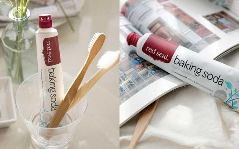 red seal小蘇打亮白牙膏 100g/240元  碳酸鈣、小蘇打幫妳去除惱人的牙漬問題。(圖/品牌提供)