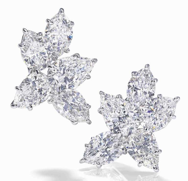 海瑞溫斯頓「Winston Cluster」經典溫斯頓風格鑽石耳環╱價格店洽。(圖╱HARRY WINSTON提供)