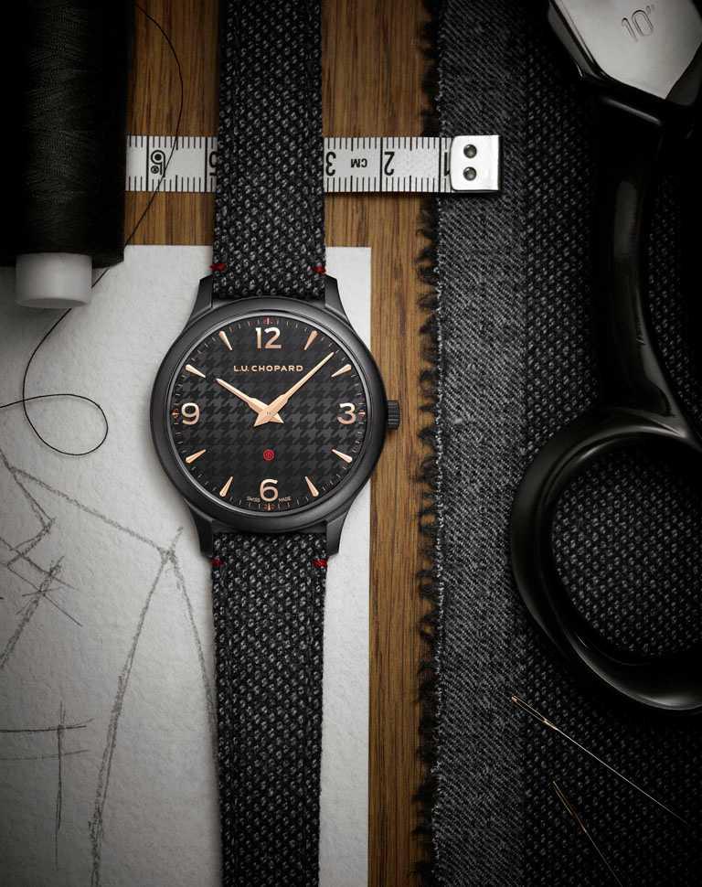 CHOPARD「L.U.C XP Il Sarto Kiton」腕錶,微珠打磨DCL精鋼錶殼,40mm,限量100只╱382,000元。(圖╱CHOPARD提供)