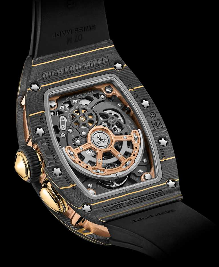 RICHARD MILLE「RM 037」女性腕錶,Gold Carbon TPT金箔碳纖維、紅金錶殼,52.6mm╱6,600,000元。(圖╱RICHARD MILLE提供)