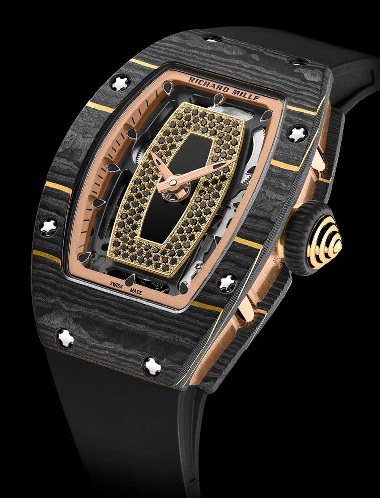 RICHARD MILLE「RM 07-01」女性腕錶,Gold Carbon TPT金箔碳纖維、紅金錶殼,45.6mm╱5,010,000元。(圖╱RICHARD MILLE提供)