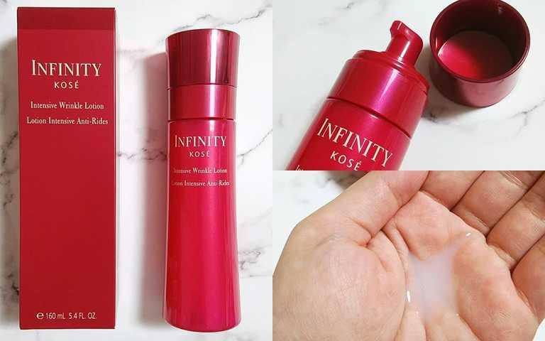 KOSE無限肌緻紅顏無瑕抗皺露160ml/2,180元不像一般化妝水,是偏濃厚的質地,在使用中就能感受到皺紋改善的效果。(圖/IG@hirominohohon)