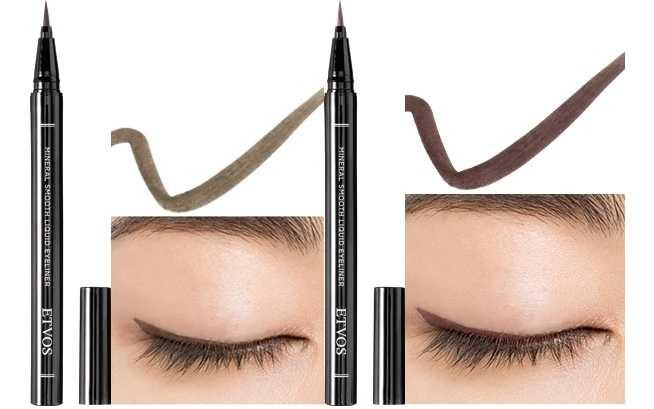 ETVOS熱銷毛筆型的絲滑礦物眼線液2021春妝推出2款限定色#可可棕、#粉櫻棕,前者介於黑色跟咖啡色之間,後者是融入了日本知名櫻花色的微甜粉棕色,都能在呵護肌膚的同時輕鬆勾勒出自然系眼線,打造柔和無辜大眼。(圖/品牌提供)