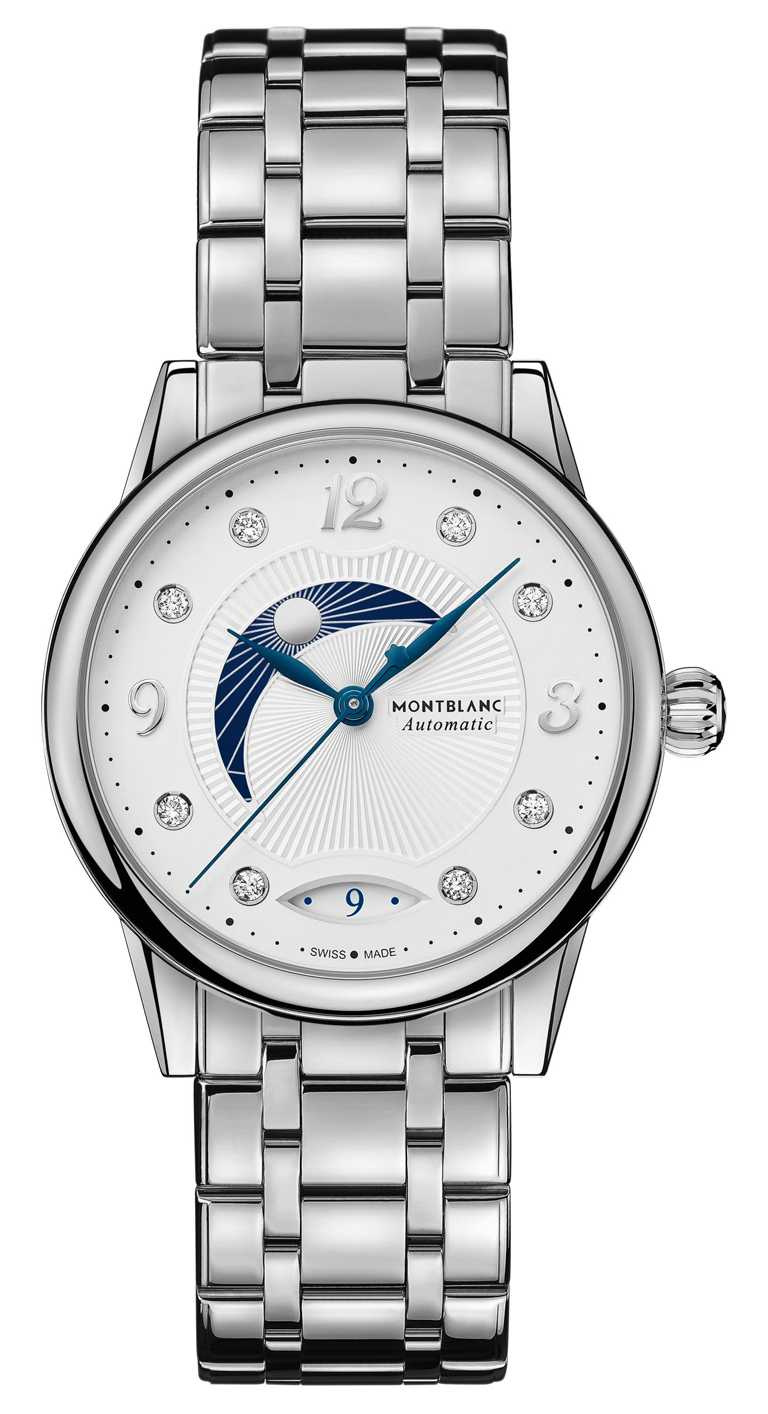 MONTBLANC「Bohème寶曦」系列日夜顯示腕錶,34mm,精鋼錶殼、鍊帶,MB 24.20型自動上鏈機芯╱124,200元。(圖╱MONTBLANC提供)