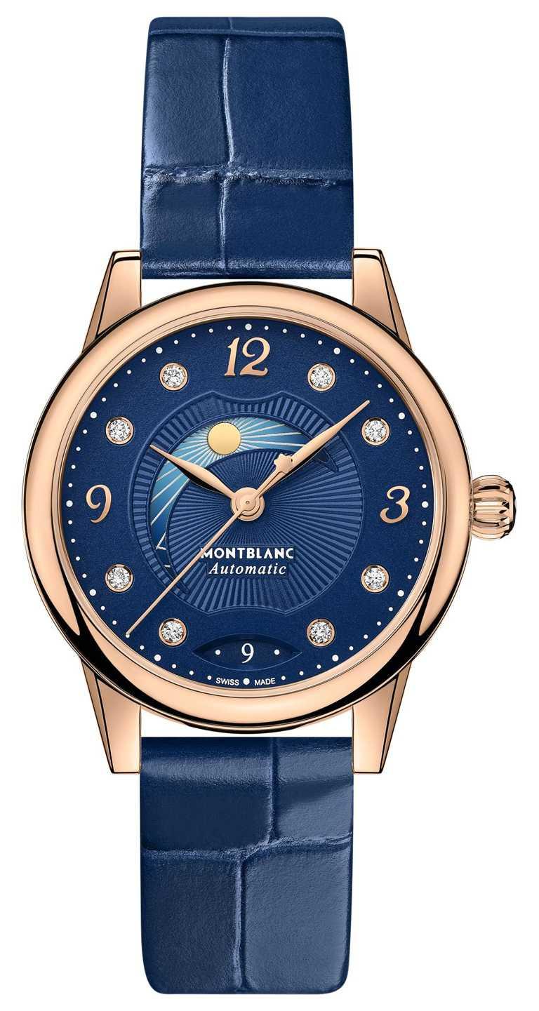 MONTBLANC「Bohème寶曦」系列日夜顯示腕錶,30mm,18K玫瑰金錶殼,鱷魚紋藍色小牛皮錶帶,MB 24.20型自動上鏈機芯╱255,600元。(圖╱MONTBLANC提供)