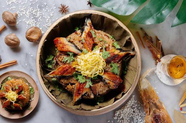 台南老爺行旅推出桌席經典菜色的「蒲燒鰻米糕」。