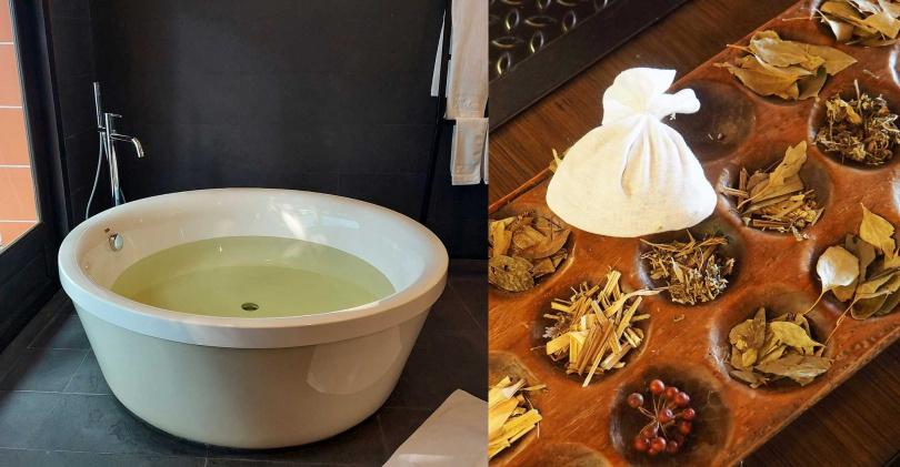 旅客泡澡時使用的茶湯包,會隨季節更換材料。