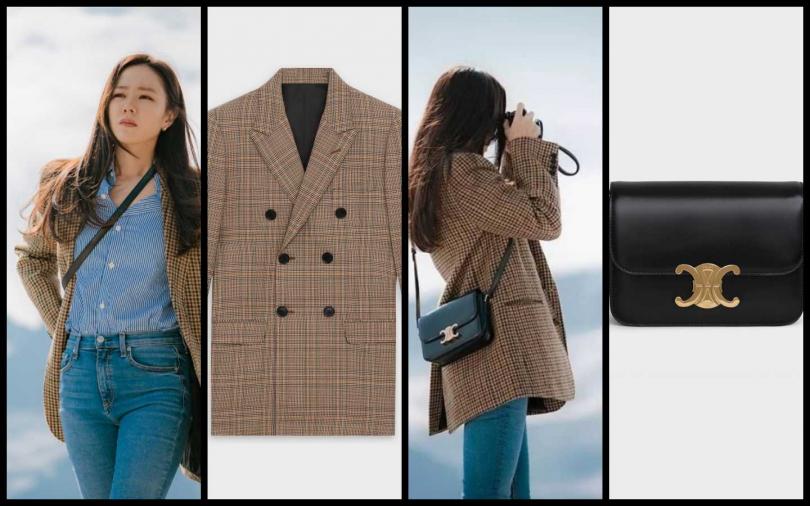 搭配由被譽為女神IT美包TRIOMPHE黑色包款,融入方正輪廓和背對背雙C金屬扣鎖,熱愛古著風包款必備。Celine TRIOMPHE黝黑色亮面小牛皮肩背包/105,000元(圖/品牌提供)