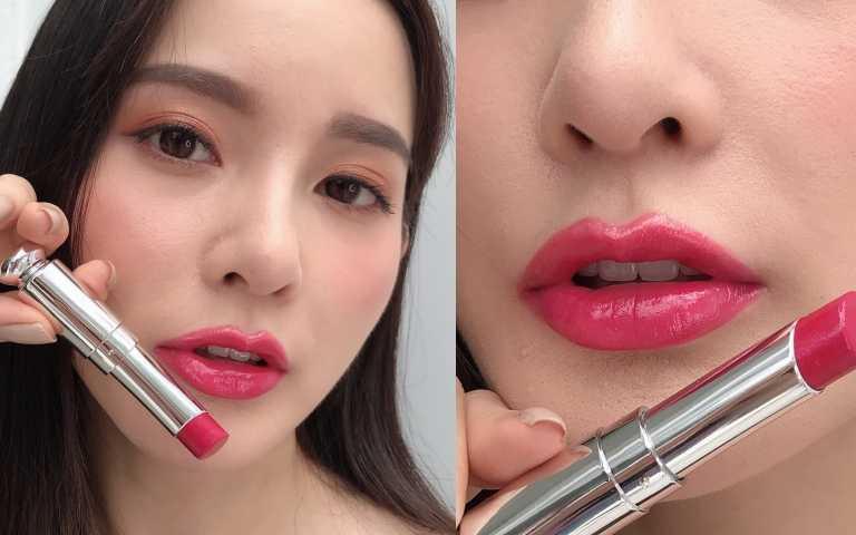 模特兒試色Dior迪奧癮誘超模巨星唇膏#976(圖/黃筱婷攝影)