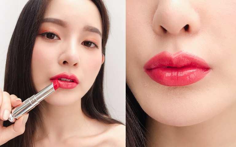 模特兒試色Dior迪奧癮誘超模巨星唇膏#859(圖/黃筱婷攝影)