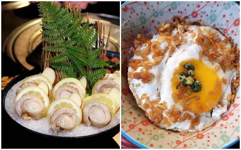 提前至少1日預約「988吃到飽」方案,即可享0元免費升級鮮甜飽滿的「北海道巨大帆立貝」,圖右為和牛油蔥飯。