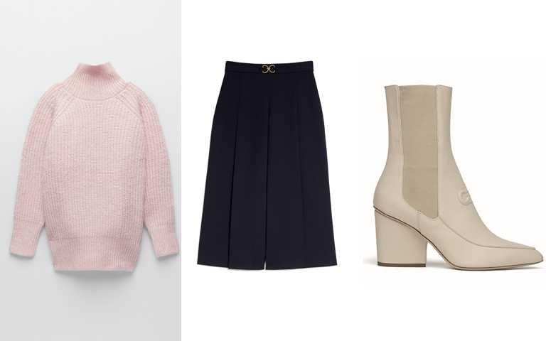 喜歡她的造型妳可以這樣買>>ZARA寬鬆版針織衫/1,490元、Sandro黑色金屬皮帶寬裙/12,290元、Salvatore Ferragamo MARINEO白色牛皮短靴/39,900元 (圖/品牌提供)
