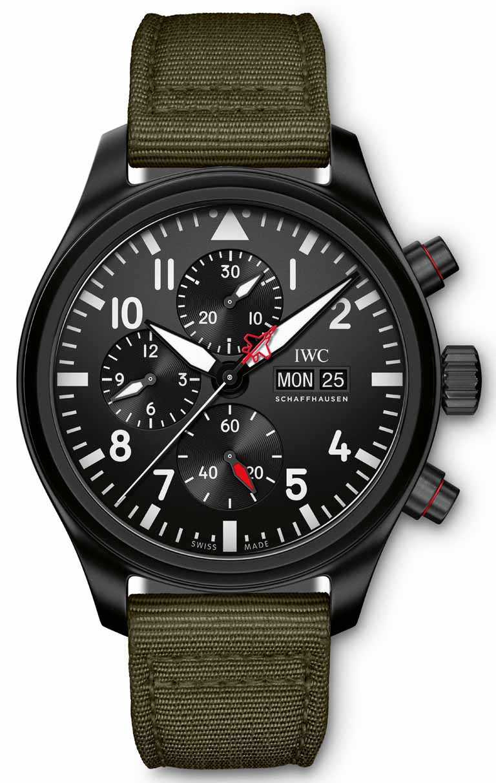 IWC「Top Gun海軍空戰部隊飛行員」系列計時腕錶「SFTI」特別版,陶瓷錶殼,44mm,限量1,500只╱308,000元。(圖╱IWC提供)