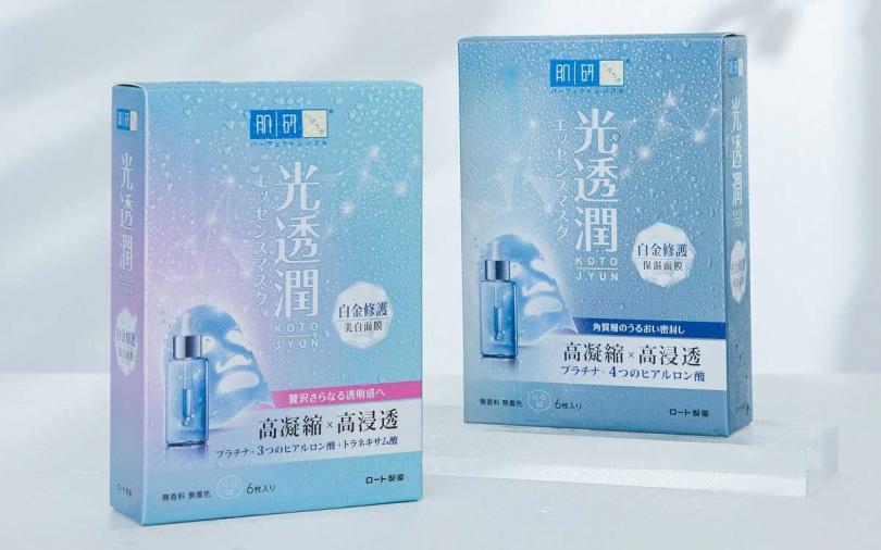 肌研光透潤白金修護保濕面膜 6片入盒裝/399元、肌研光透潤白金修護美白面膜 6片入盒裝/399元  只在台灣限定發售,連日本也買不到喔。(圖/品牌提供)