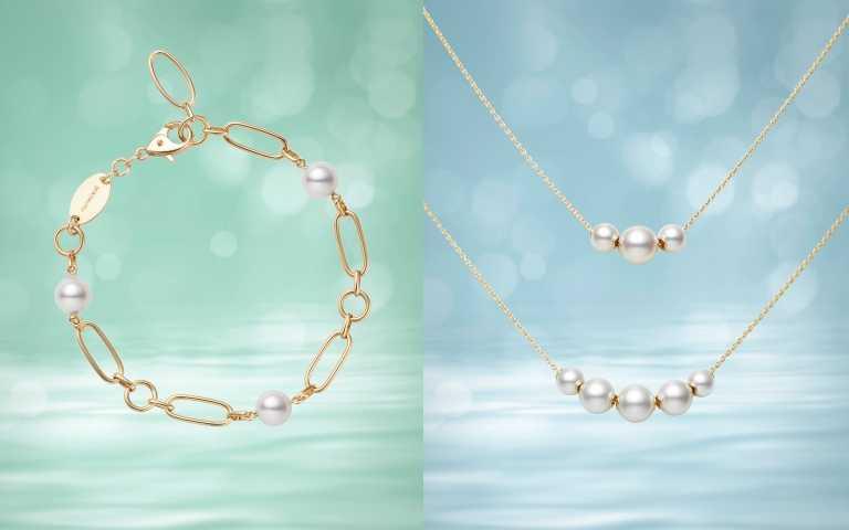 (左)Mikimoto M Code 系列珍珠手鍊 18K 黃金搭配日本 Akoya 珍珠(珍珠直徑:6.50-6.75mm) /53,000元。(右)Mikimoto Jewels in Motion 系列珍珠墜鍊 18K 黃金鍊結,搭配日本 Akoya 珍珠(尺寸約 5.50-7.50mm), 三顆珍珠款式/44,000元;五顆珍珠款式/56,000元(圖/品牌提供)