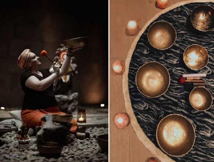 「上海素凱泰酒店」提供「頌缽養生課程」。