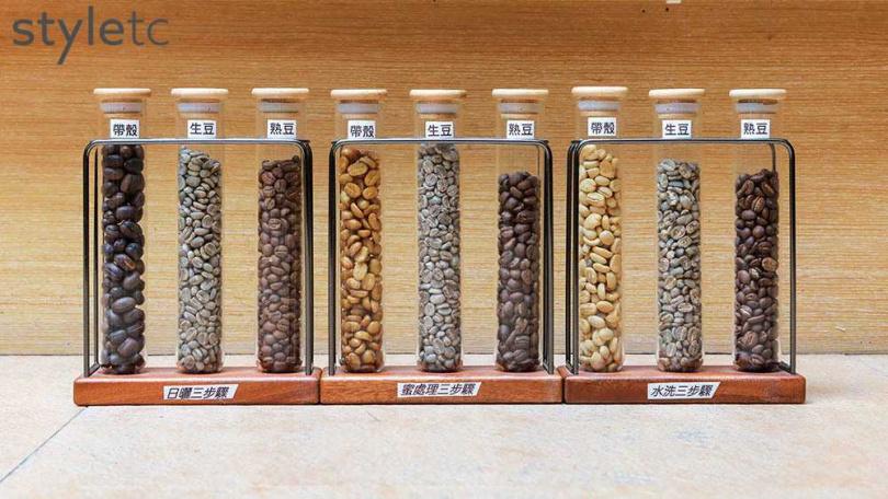 鄒築園內的咖啡吧台上有展示日曬、水洗蜜處理等三大咖啡辨別方式與處理法。(圖/林士傑攝)