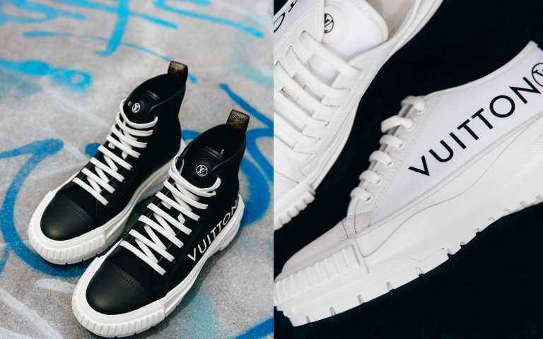 LV SQUAD運動鞋款是款摩登且易搭配的鞋款,有高筒與低筒兩款設計,以及各種鮮豔色彩可供選擇。(左)LV SQUAD sneaker boot高筒鞋/32500元;(右)LV SQUAD sneaker in cotton canvas底筒鞋/31,000元 (圖/品牌提供)