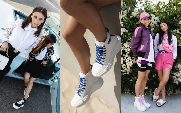 LV找來知名網紅名人Chamberlain與Charli D'Amelio同時穿上LV SQUAD鞋款,在陽光洋溢的洛杉磯所拍攝的廣告片中,有黑色高筒版,也有黑色、粉紅色、白色低筒版,另外還有對比色LOGO字樣印在棉質帆布上。(圖/品牌提供)