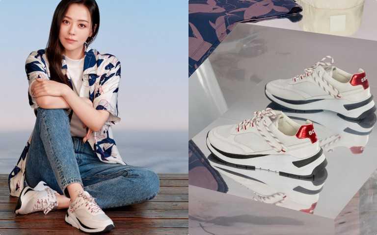 BOSS 2021七夕限定系列單白色球鞋/13,400元(圖/品牌提供)