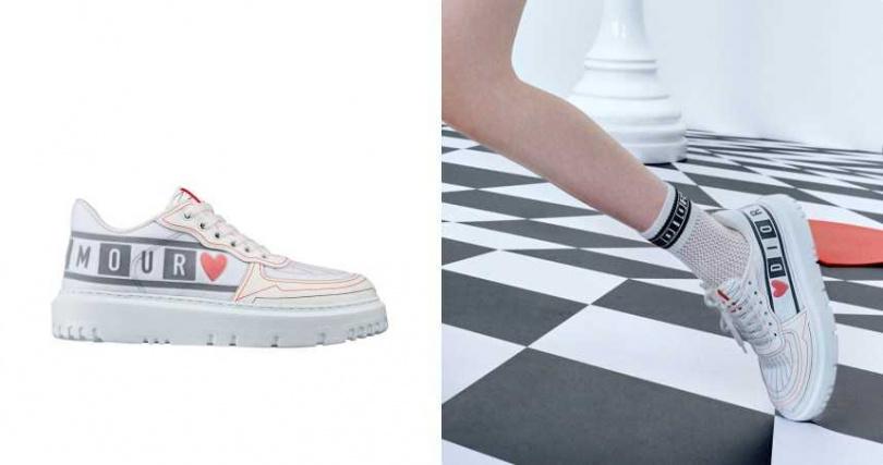 Dior Addict 黑白棋盤格愛心印花休閒鞋/35,000元(圖/品牌提供)