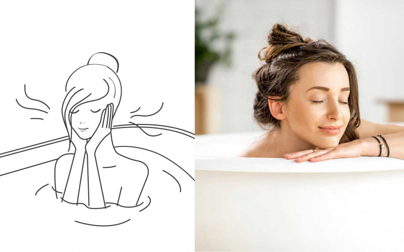 邊泡澡邊做臉部按摩有效利用時間。(圖/品牌提供、IG@mira.aroma.tv)