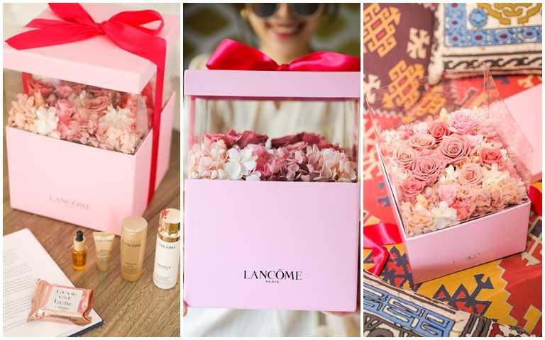 立體的盒身內,上層是永生花禮盒、下層則是可擺放美妝品的空間。(圖/品牌提供)
