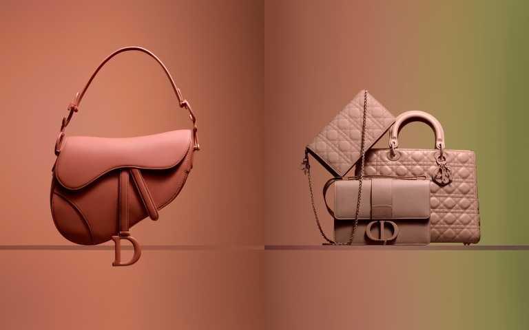 Dior ULTRA MATTE COLORAMA 極致霧彩配件系列Saddle胭脂粉馬鞍包 (右)全系列粉膚色包款,超美的霧感粉。(圖/品牌提供)