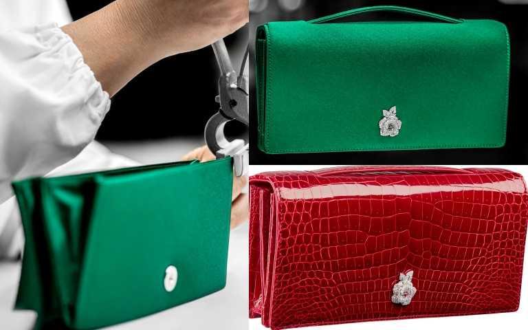Dior 2020 Gem 寶石晚宴包製作工藝圖,右下為Dior Gem紅色鱷魚皮寶石晚宴包鑲嵌 Rose Dior Bagatelle 白金、鑽石與紅寶石扣環/2,200,000元(圖/品牌提供)