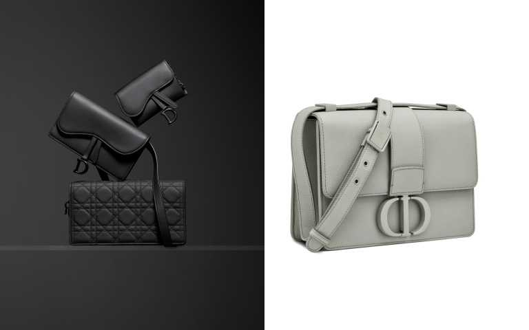 (左)今年最該收的消光灰Dior經典包款,右為Dior30 Montaigne Ultra Matte 石灰色粒紋小牛皮翻蓋包/120,000元(圖/品牌提供)