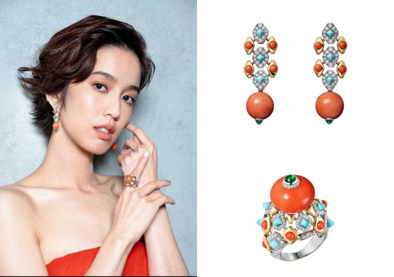 Cartier全新Magnitude頂級珠寶系列作品FARANDA珊瑚耳環/5,350,000元;FARANDA珊瑚戒指/6,600,000元(圖/品牌提供)