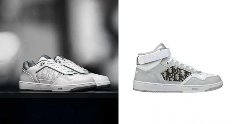 鞋舌標誌性的「CD」字樣以尼龍緹花相襯,搭配鏤空「CD」字樣鞋帶孔。DIOR B27 OBLIQUE 緹花中筒休閒鞋/37,000元。(圖/品牌提供)