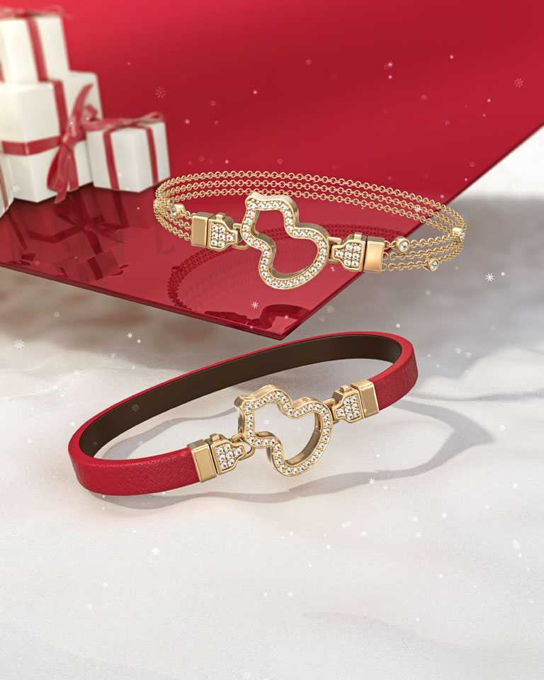 Qeelin「Wulu」系列,玫瑰金鑽石鎖釦及玫瑰金鑲鑽手環╱(鎖釦)104,000元、(手環)35,000元;玫瑰金鑽石鎖釦及可替換紅色牛皮手環╱(鎖釦)104,000元、(手環)10,700元。(圖╱Qeelin提供)